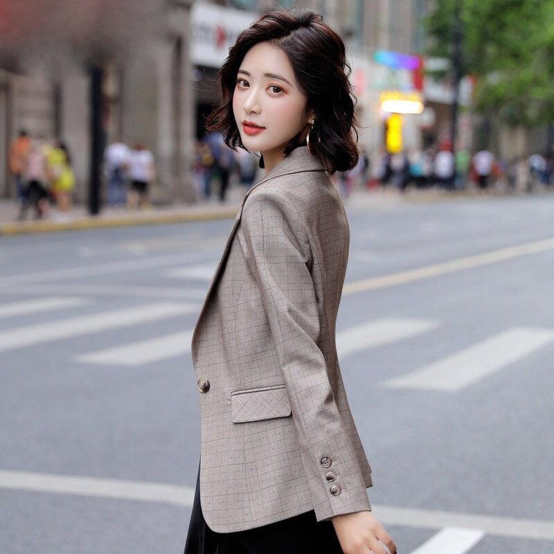 格子其他通勤常规装女韩版秋装2020新款时尚职业装修身气质小西服