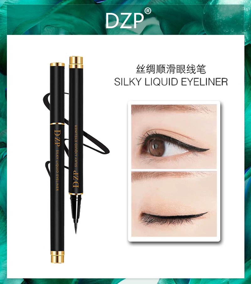 DZP eyeliner, black silk, smooth, waterproof, sweat resistant, non staining, durable, and suitable for beginners.