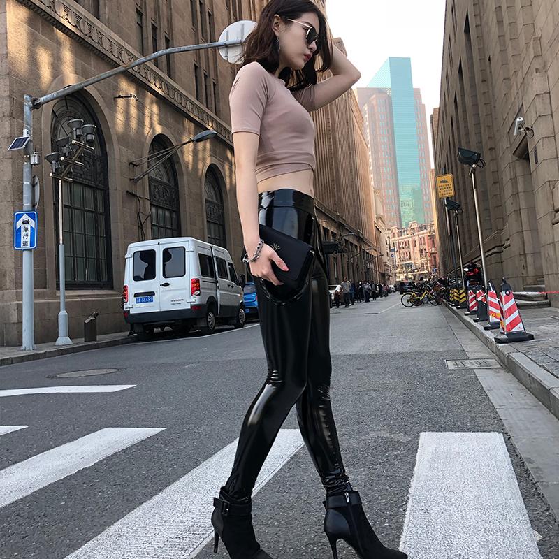 皮裤女2019春季新款漆皮亮面薄款紧身黑色高腰铅笔裤小脚长裤