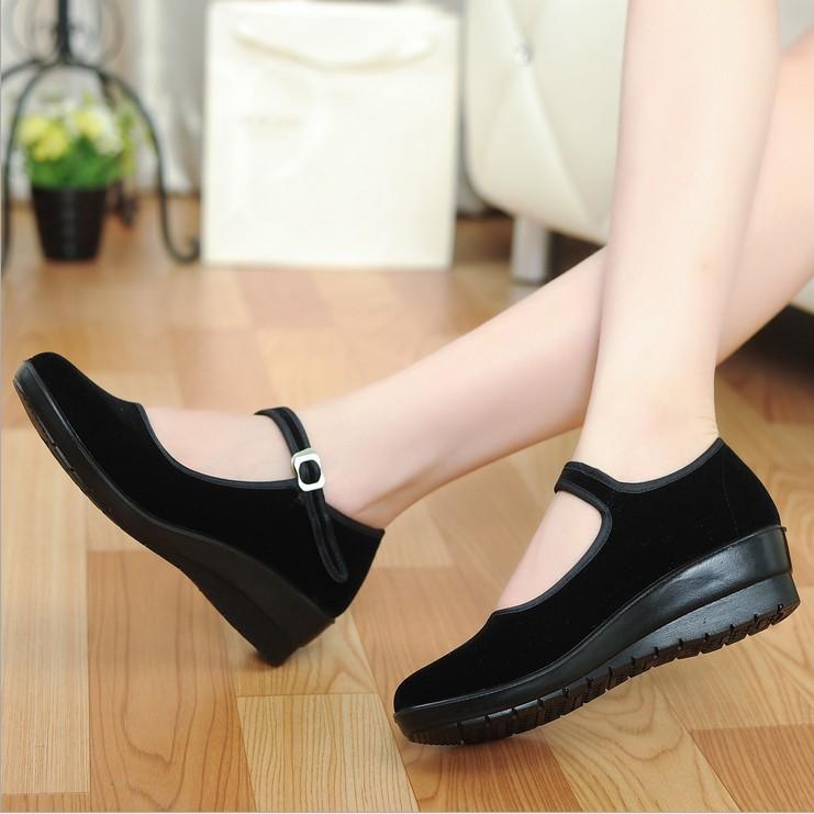 包郵正品春夏季老北京布鞋女鞋單鞋子軟底工作鞋酒店跳舞蹈黑布鞋