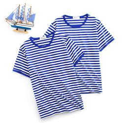 夏季海魂衫男短袖t恤定制 水手服海军风纯棉半袖蓝白条纹情侣装