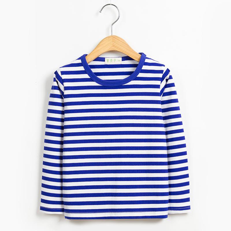 秋装男童女童宝宝海魂衫童装纯棉长袖t恤海军风儿童蓝白条纹上衣