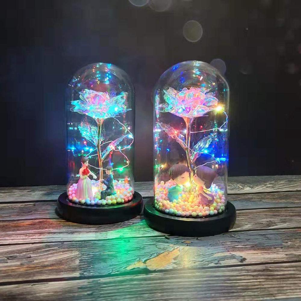 led灯玻璃罩玫瑰花观七夕情人节教师节送女友礼物生日创意礼品
