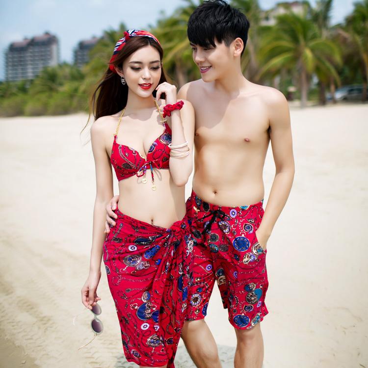 2017 корея женщины любят спутник купальный костюм комплект из 3 предметов сексуальный ларец собирать бикини мантильи полотенце пляж брюки приморский