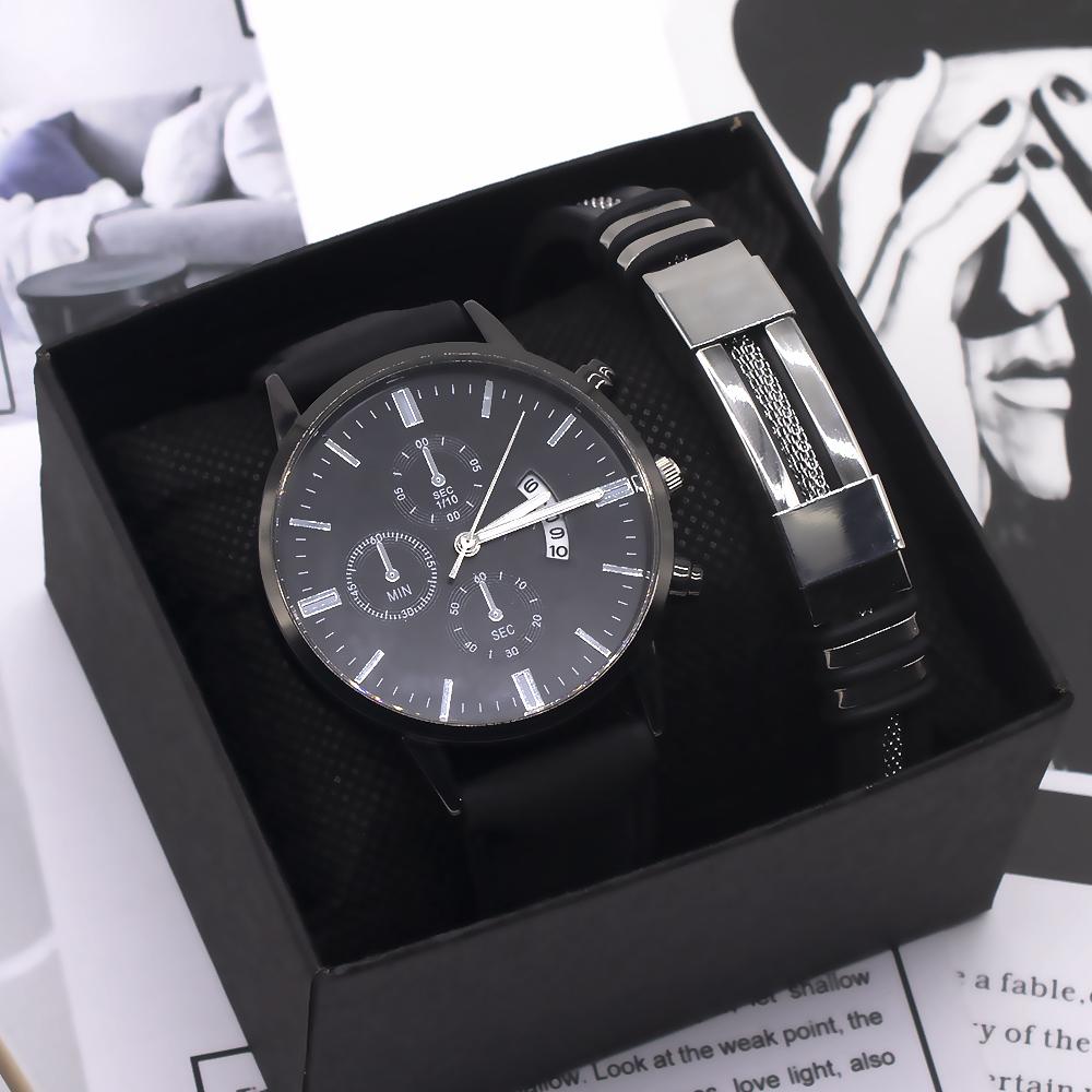2021 new fashion mens watch quartz watch student fashion trend cool bracelet set men watch
