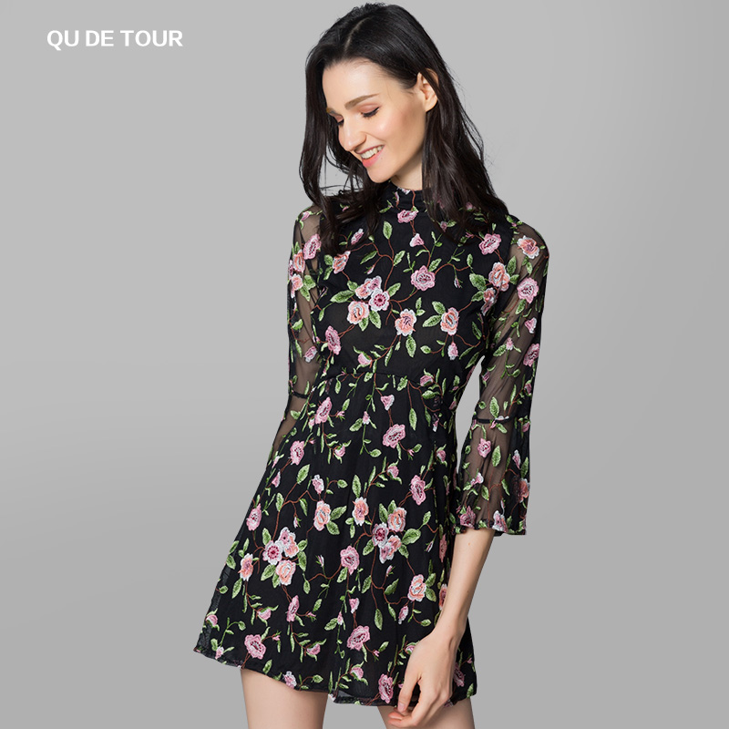 Qu detour Floral Embroidered flared sleeve dress sexy high waist backless Vintage lady style print skirt