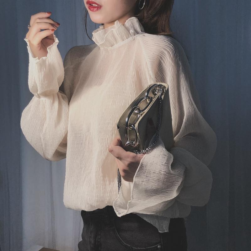 2019秋季新款韩版喇叭袖超仙雪纺衫洋气网红上衣女长袖气质打底衫(非品牌)