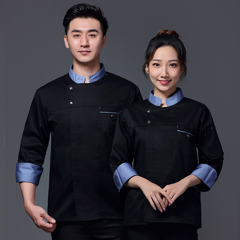 Autumn and winter long sleeve breathable sweat absorbing chef overalls Japanese Restaurant sushi restaurant kitchen tooling baking