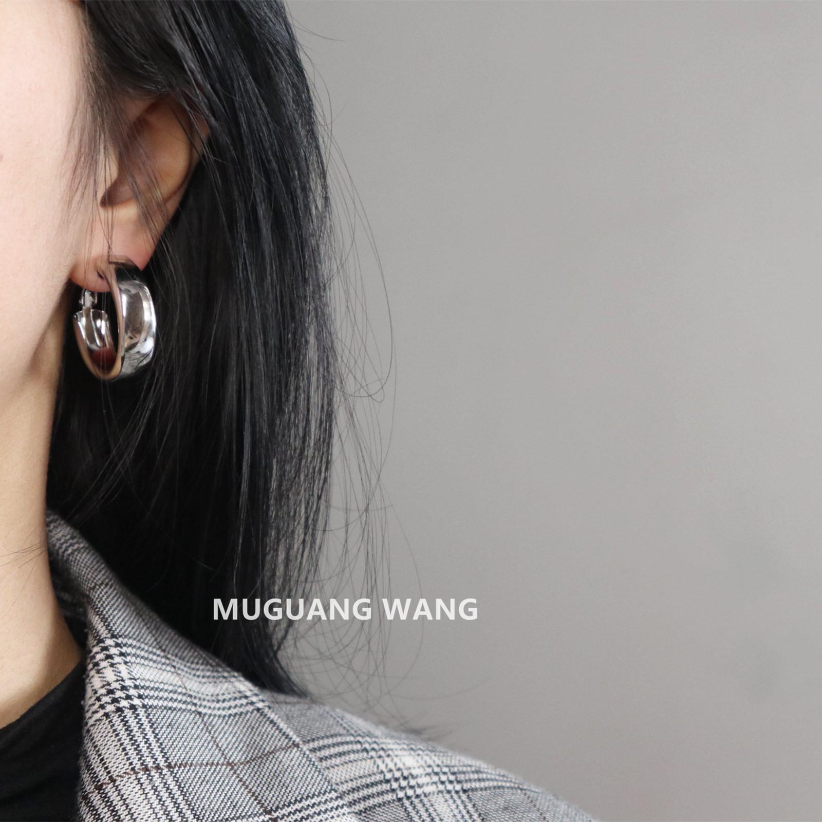 Muguang/欧美几何圆圈金属镜面耳环女925银半圆气质百搭耳圈耳饰