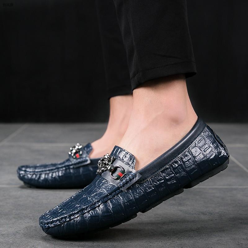 热风旗官网脚王宝马f2双星真皮虎头标鳄鱼纹豆豆鞋男头层牛皮套脚
