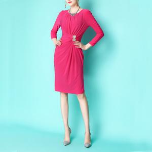 美若轻歌~欧美2020早春新款修身显瘦通勤白领长袖复古玫红连衣裙