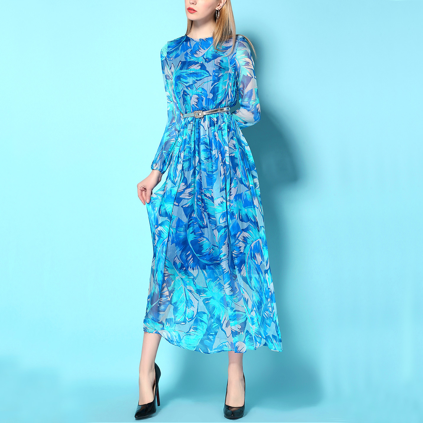 七月的海~奢华春夏复古长袖防晒宝蓝印花桑蚕丝超长OL连衣裙
