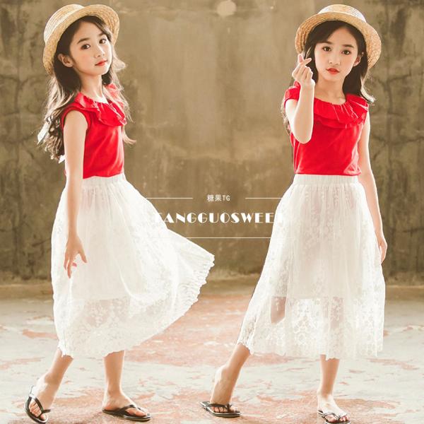 五折促销2018夏款女童套装韩版中大童T恤背心网纱蕾丝半身长裙两件套夏装