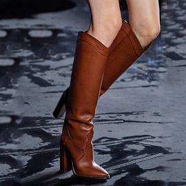 靴子女2020新款秋冬欧美走秀中筒靴真皮粗高跟尖头个性百搭INS潮