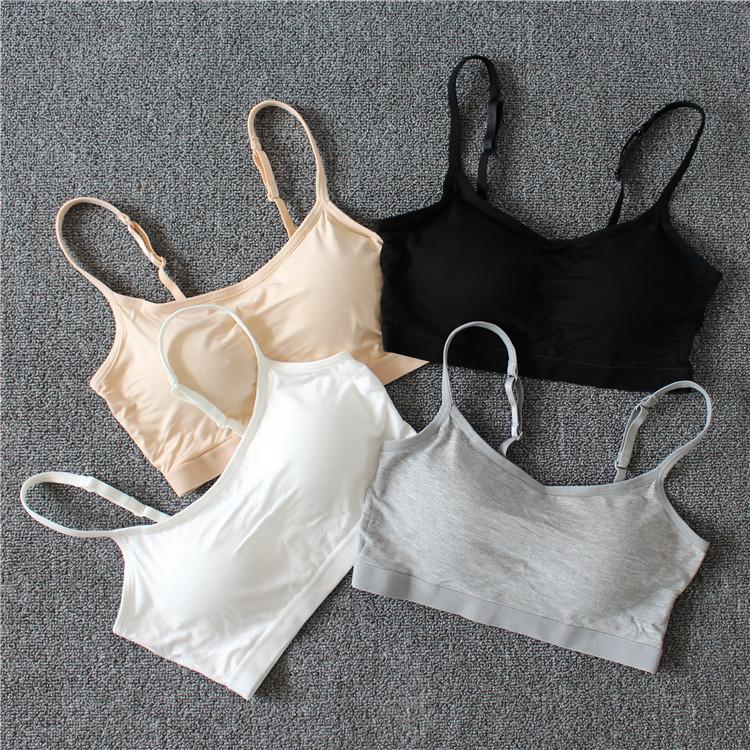 莫代尔女免带胸垫抹胸一体式内衣无钢圈短款吊带背心裹胸瑜伽半胸