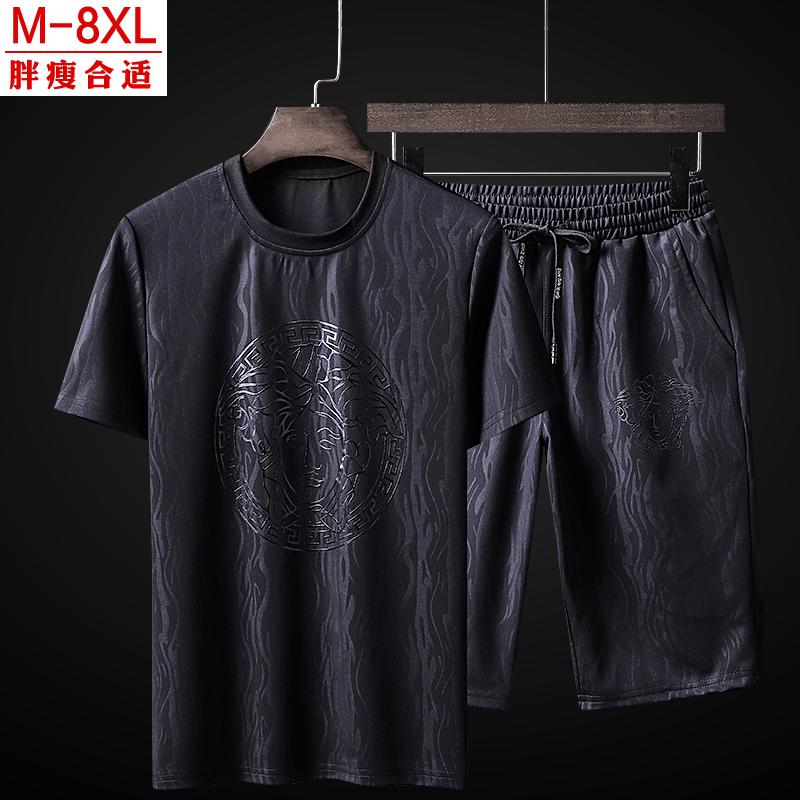 套装男大码夏季加肥加大短袖T恤男套装运动休闲两件套宽松潮胖子