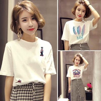 2021夏季新款白色短袖t恤女韩版宽松显瘦字母印花刺绣纯棉体恤潮