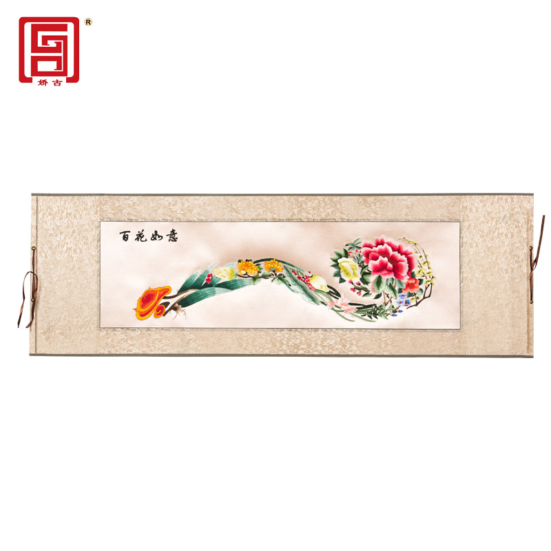 Suzhou embroidery, hundred flowers, Ruyi finished products, manual embroidery, classical single-sided embroidery, scroll painting, gift giving, convenient for studying abroad
