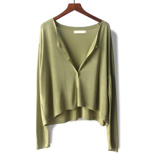 你以为59就买不到好品质了? 高腰针织开衫 抹茶绿短款 橘色 外套