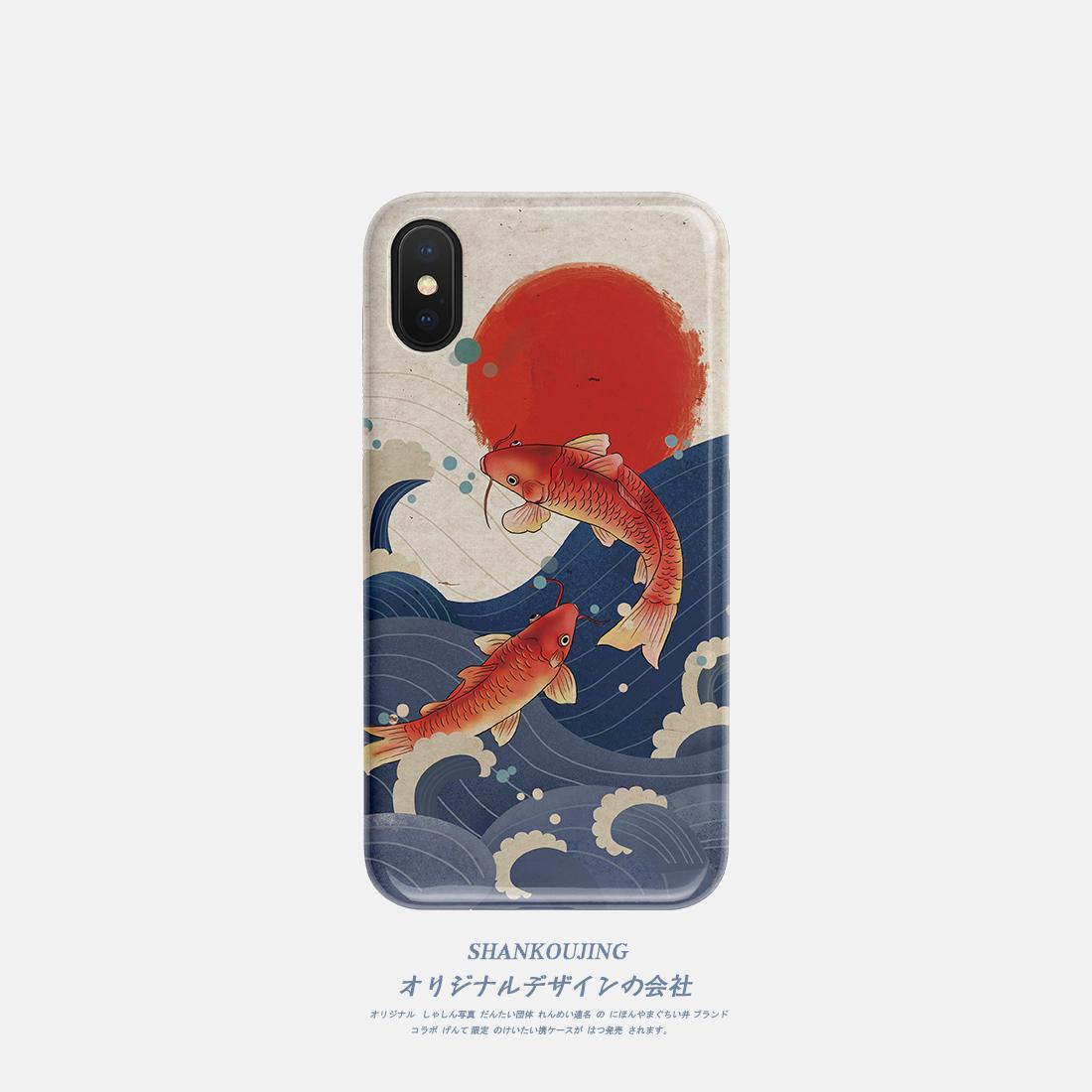 山口井 日系锦鲤iPhone x/xs/xr/max手机壳11promax苹果7磨砂硅胶