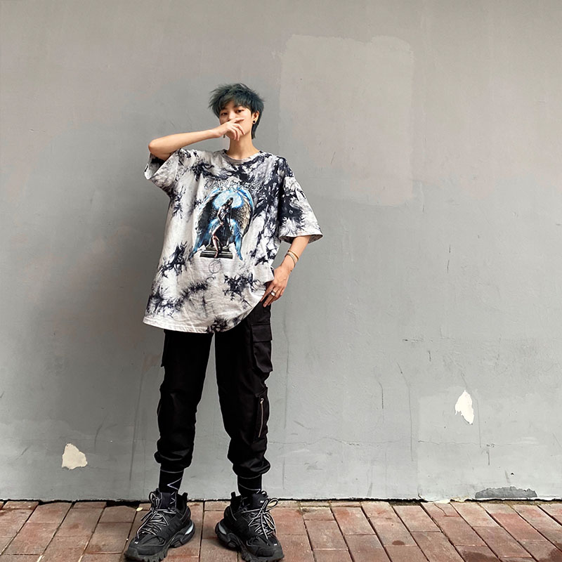 High street ins mens short T Punk Gothic tie dye casual couple loose and versatile short sleeve T-shirt for men