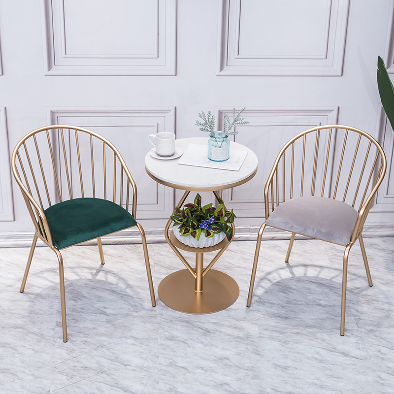 Nordic modern simple balcony table and chair combination marble milk tea shop talks back net red leisure chair