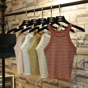 Лето корейский полоса повесить за шею вязание жилет женщина талия безрукавный плечо строп краткое модель сердце машинально куртка свитер