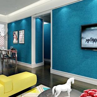 简约素色防水壁纸 卧室客厅背景服装 地中海纯蓝色墙纸 店宾馆餐厅