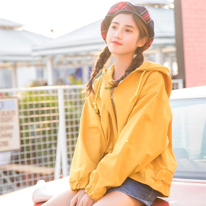 2018新款女装春装糖果色工装外套学生宽松连帽基础款棒球服夹克女