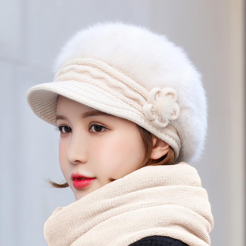 帽子女秋冬季韩版针织帽保暖贝雷帽毛线帽时尚加厚护耳帽兔毛帽