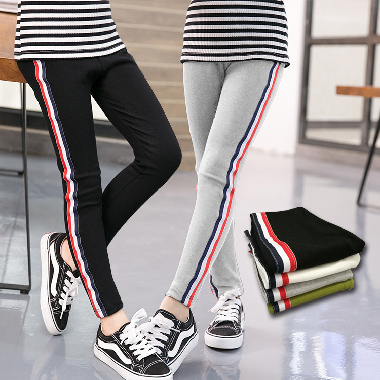 Spring and autumn 21 new childrens pants middle school students Slim Fit girls Leggings Pants childrens elastic casual pants