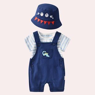 男寶寶夏裝純棉揹帶褲春秋嬰兒套裝夏季男童網紅帥氣潮嬰幼兒衣服