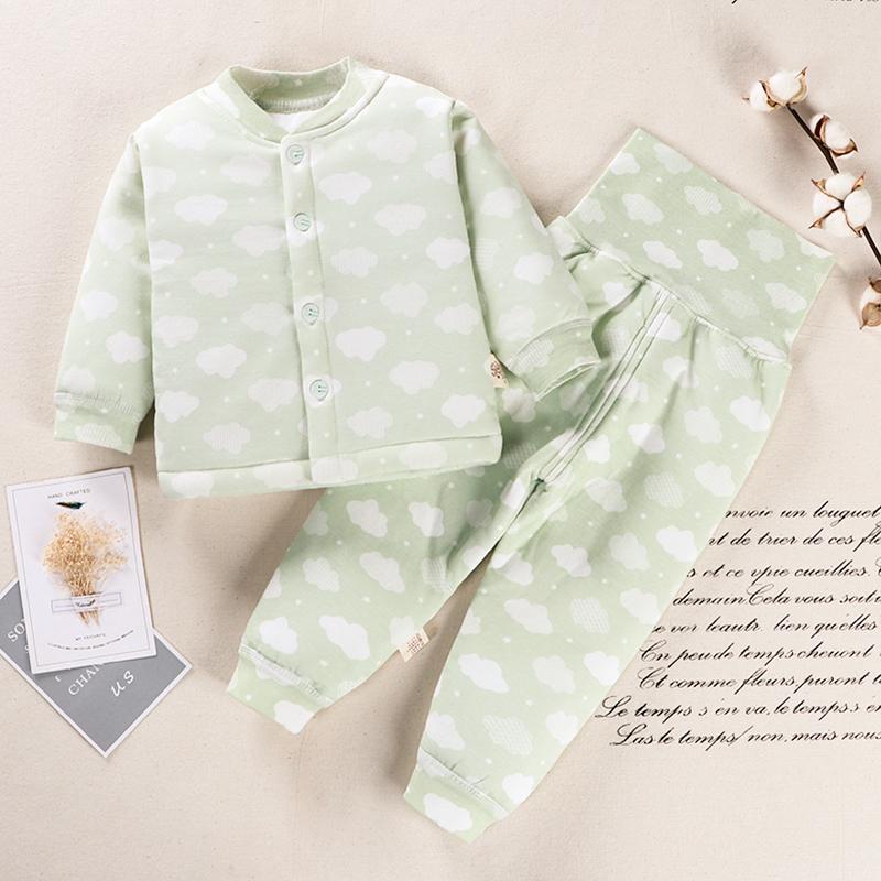 婴幼儿高腰护肚保暖内衣套装婴儿秋冬纯棉衣服加厚宝宝夹棉保暖衣