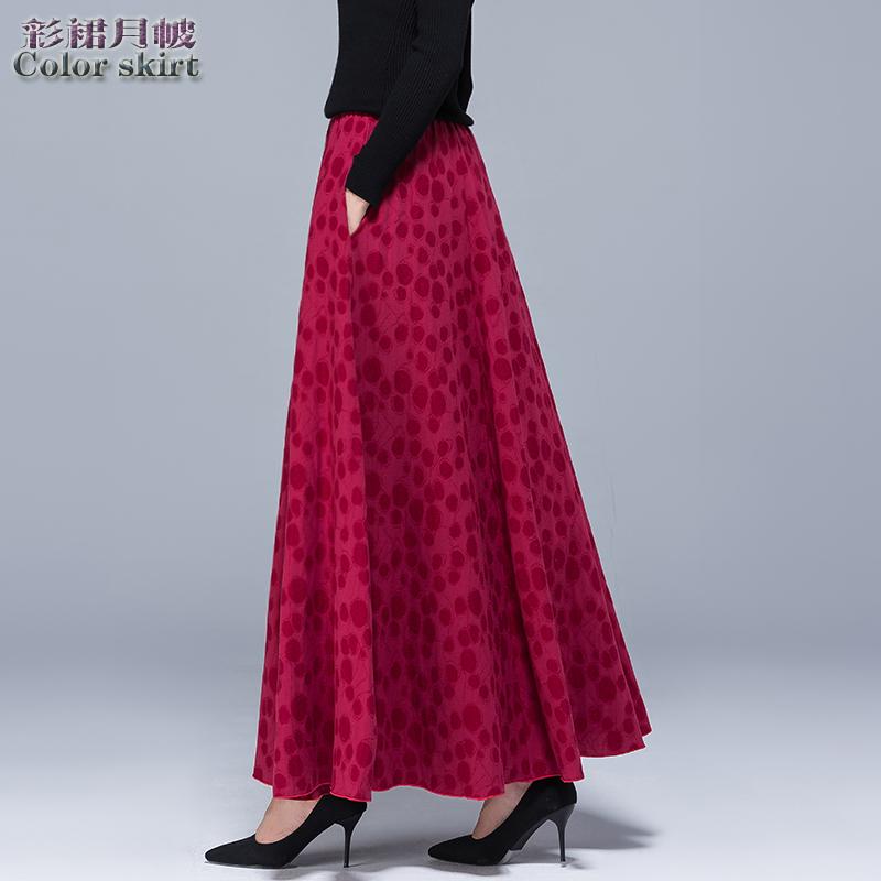 秋冬新款复古棉麻双层气质半身裙