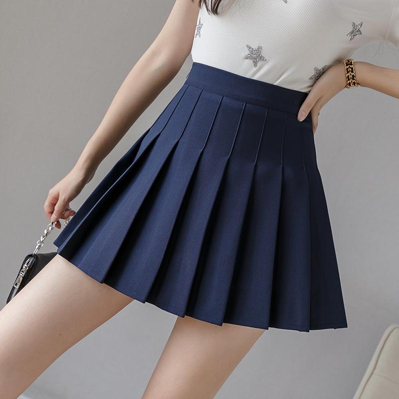 Pleated skirt women short skirt womens anti walk away 2020 autumn high waist A-line Korean thin umbrella skirt Black Plaid Skirt