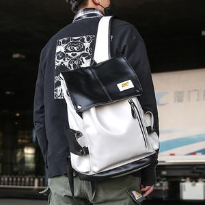 潮牌雙肩包男大容量pu旅行背包高中大學生書包女韓版 USB電腦背包