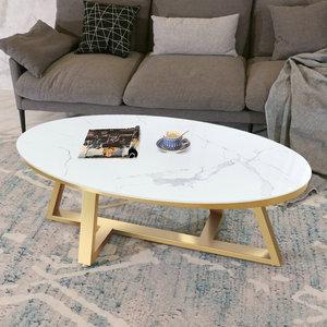 北欧大理石椭圆形茶几简约现代网红创意轻奢铁艺小户型客厅茶几桌