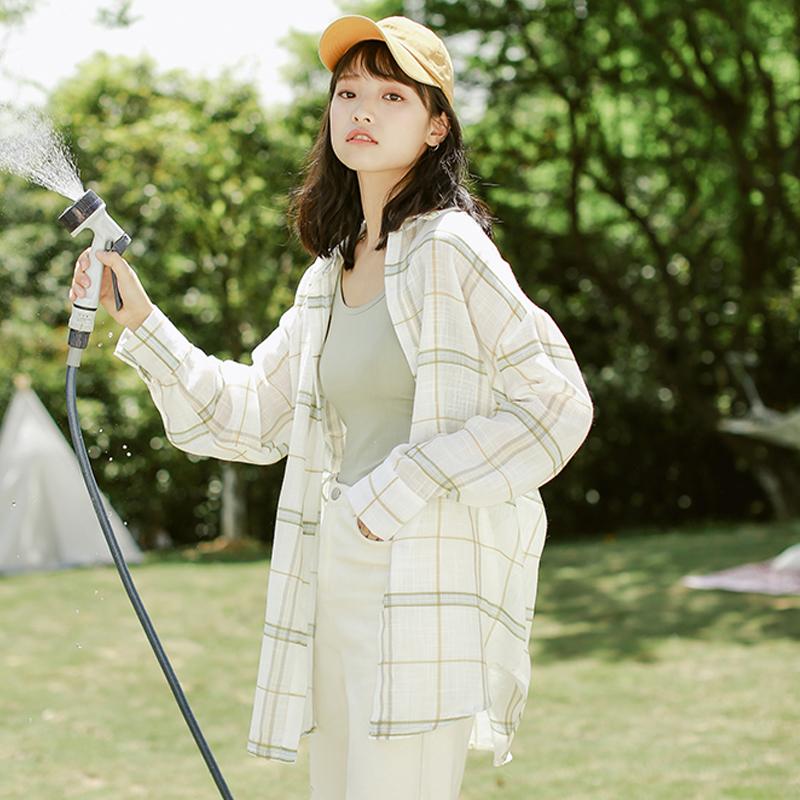 格子防晒衬衫女韩版宽松外穿百搭洋气薄款外套上衣服2021夏季长袖