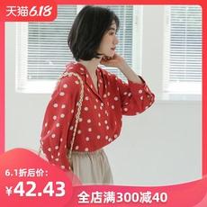 复古波点西装领衬衫女设计感小众雪纺衫七分袖超仙上衣甜美学生夏