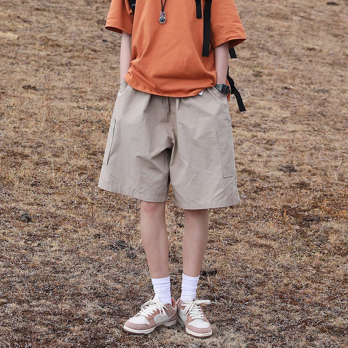 KOUEMGI空味 日系简约纯色工装短裤男潮牌机能口袋宽松运动五分裤