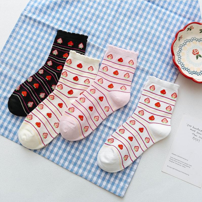 热销23件有赠品纯棉韩版学院风春夏季ins草莓袜子