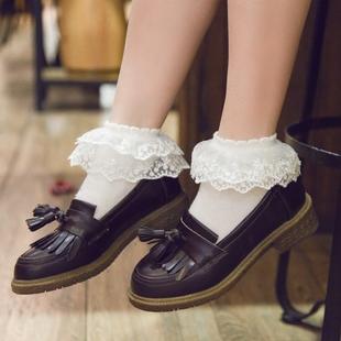 春夏薄款全棉双层蕾丝公主花边短袜白色洛丽塔纯棉日系成人女袜子