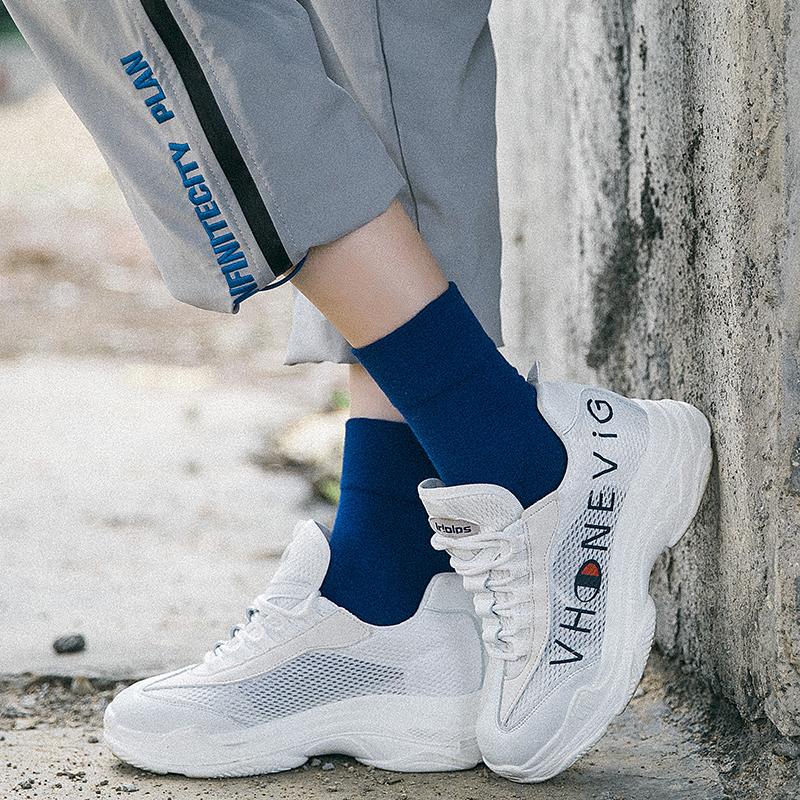 紫色韩国ins新款学院纯色中筒女宝蓝色运动滑板潮袜子全棉吸汗夏热销111件买三送一
