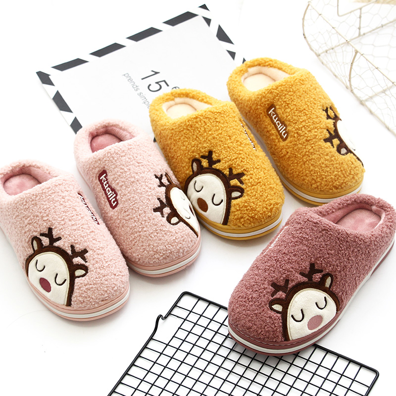 Fast deer new parent-child cute cartoon warm cotton slippers mens and womens anti-skid thick soled shoes winter childrens parent-child slippers