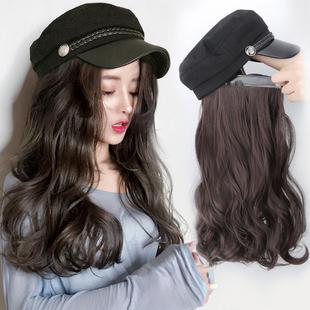 假发女长发自然全头网红海军帽子假发一体女冬天时尚长卷发大波浪