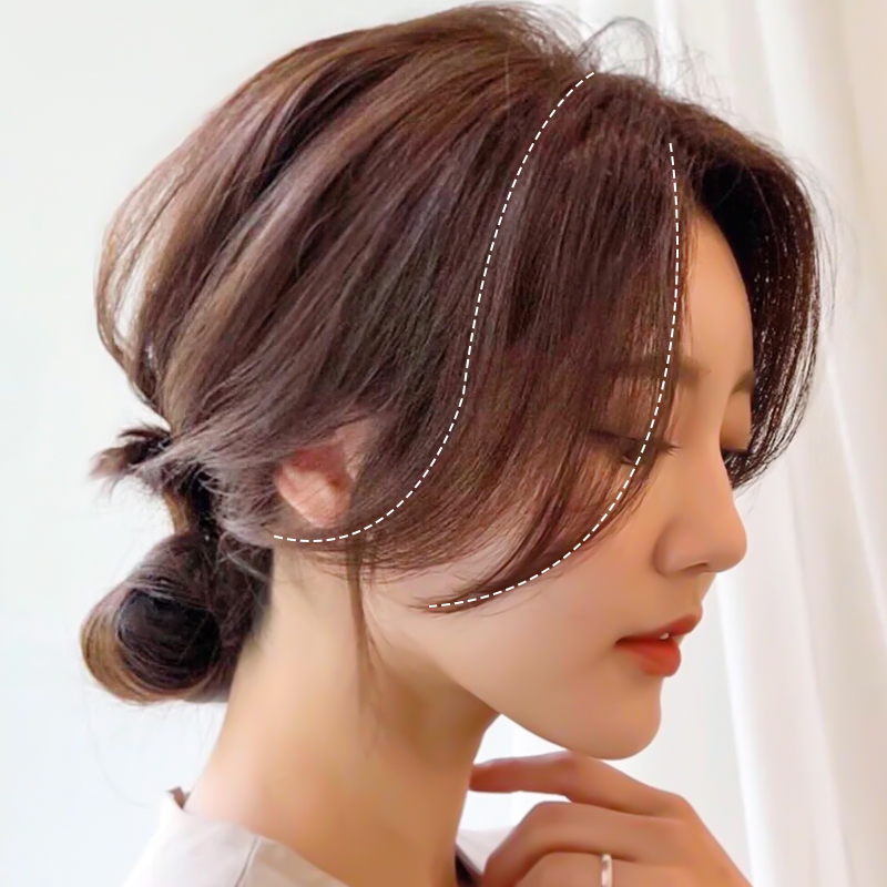 Liu Haizhen 's hair piece is divided into two sides of the piece