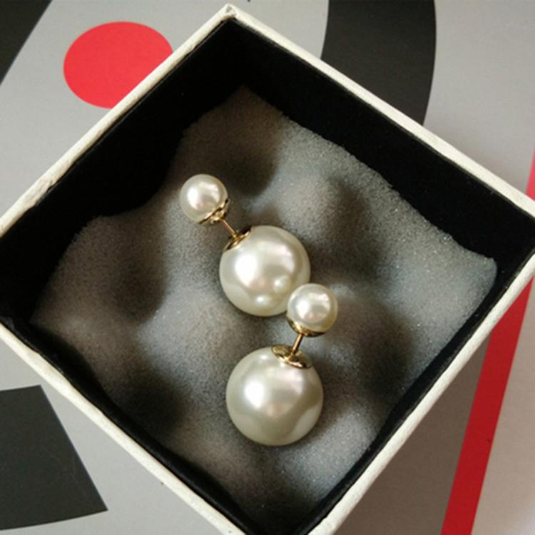 迪奥德大小珍珠耳钉女款 防过敏前后双面珍珠耳钉 韩版经典耳环