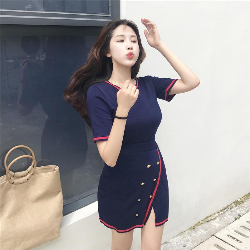 实拍 韩国拼色条纹套装女开叉性感高腰半身裙两件套