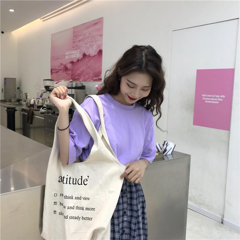 实拍 韩版学院风百搭套头宽松纯色基础款短袖T恤