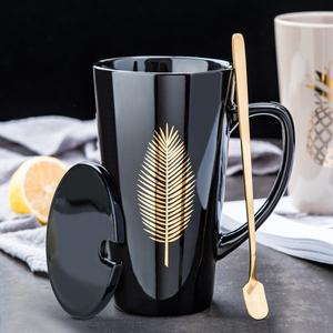 创意北欧陶瓷水杯大容量男生马克杯带盖勺咖啡杯个性家用情侣杯子